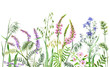 Leinwandbild Motiv Watercolor wild flowers border