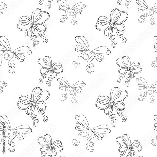 Poster Floral black and white Ribbon bows. Black and white seamless pattern