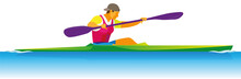 A Young Tall And Powerful Athlete Is A Paddler Proper On  Kayak Of The Race Distance