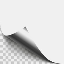 Silver Page Corner Peel. Silver Page Curled Fold With Shadow. Blank Sheet Of Folded Sticky Paper Note. Vector Illustration Sticker Peel For Advertising And Promotional Message