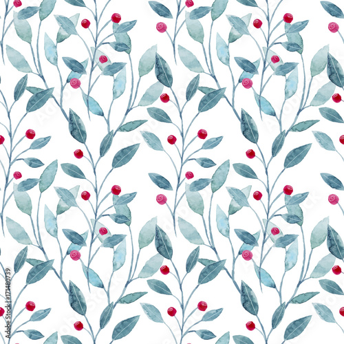 Watercolor seamless pattern with christmas leaves and flowers. Hand drawn christmas elements