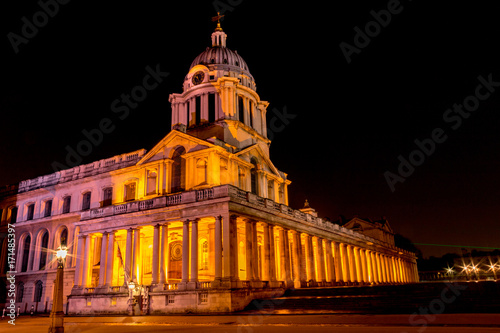 Photo A night time image of the dome above the entrance of the Old Royal Naval College