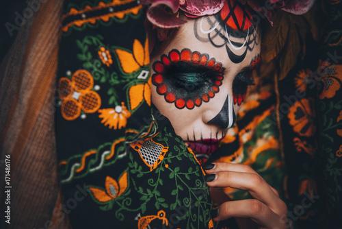 Spoed Fotobehang Halloween face of muertos