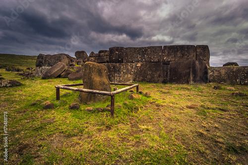 Ahu Vinapu, Easter Island - July 11, 2017: Sacred site of Ahu Vinapu, Easter Isl Wallpaper Mural