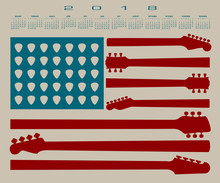 2018 Calendar With An American Flag Made Out Of Guitar Parts And Picks