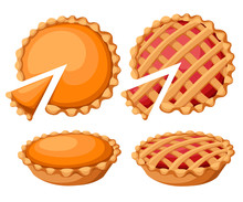 Pies Vector Illustration.Thanksgiving And Holiday Pumpkin Pie. Happy Thanksgiving Day Traditional Pumpkin Pie With Whipped Cream On The Top Web Site Page And Mobile App Design Vector Element