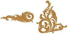Set Of Golden Vintage Baroque Ornament, Corner. Retro Pattern Antique Style Acanthus. Decorative Design Element Filigree Calligraphy Vector. - Stock Vector