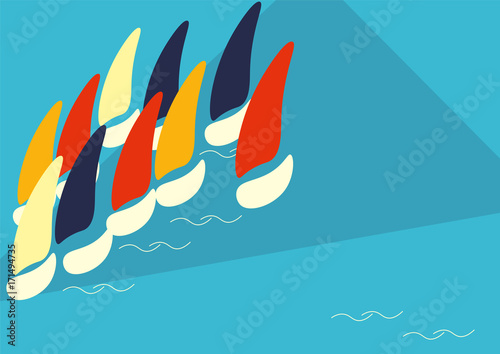 Fotografie, Obraz  Vector Poster Template or Illustration for Boat Race or Sailing Crew known as Yacht Regatta