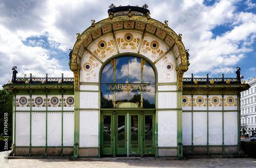 Karlsplatz Stadtbahn, old subway pavillon of XIX century jugendstil architecture in Vienna, Austria