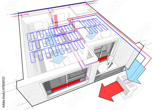 Perspective cutaway diagram of apartment with hot water radiator ...