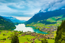 The Beautiful Interlaken Valley And Thunersee Lake