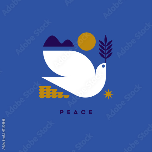 Foto  Peace day greeting card with flying dove and symbols of hope