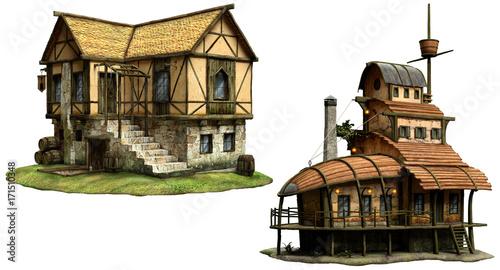 Fotografie, Obraz  Fantasy tavern buildings