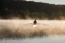 Silhouetted Man Sculling At Su...