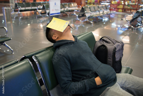 Fotografie, Obraz  Waiting alone in the empty airport