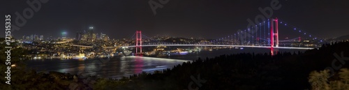 Spoed Foto op Canvas Grijze traf. Bosphorus Bridge Panorama eleven vertical photographs made panorama. Istanbul Turkey.