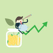 Young happy Business man hold piggy sit on money coin with icon of business and creativity. Business investment growth concept. start up - vector illustration