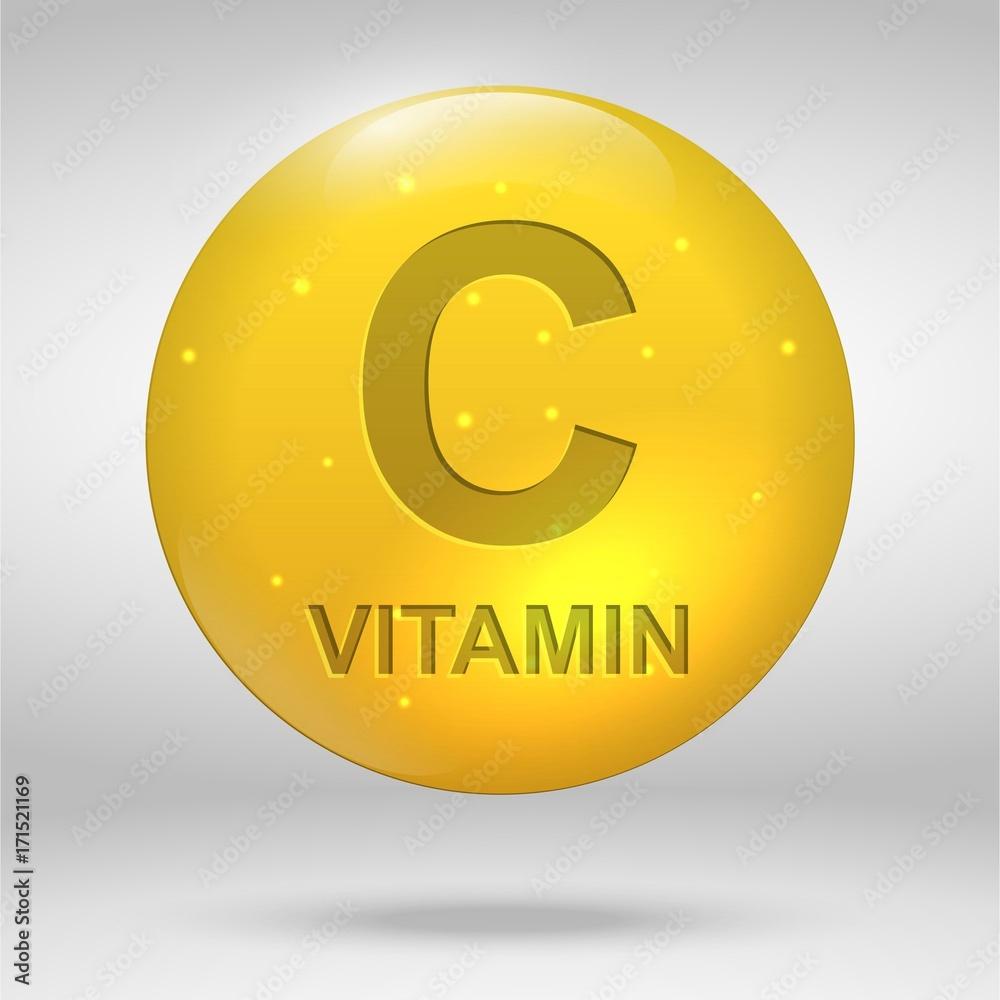 Fototapeta vitamin C drop pill capsule icon. Ascorbic acid
