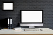 Leinwanddruck Bild - Mock up : Designer or Stylish workspace with Modern desktop computer, office supplies and notebooks over black wall at home or studio office. Blank screen for graphics display montage.
