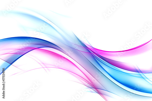 Fotobehang Fractal waves Blue and pink modern background. Abstract lines backdrop.