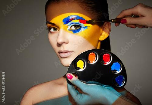 Makeup Artist Applies Colorful Makeup Fashion Model Woman