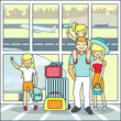 Family travel by air vector illustration in flat style