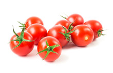 Fresh Cherry Tomatoes On White...