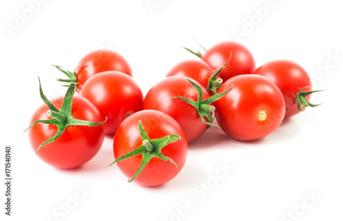 Fresh cherry tomatoes on white background, raw food and vegetable concept