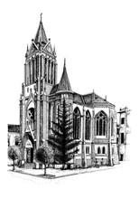 Red Gothic Church Romania Vect...