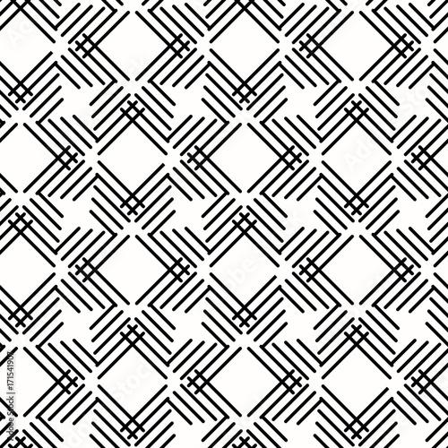 Zdjęcie XXL Bezszwowe tło dla swoich projektów. Nowożytny wektorowy czarny i biały ornament z przekątien liniami. Geometryczny abstrakcyjny wzór