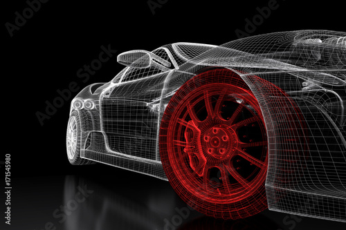 3d-car-mesh-on-a-black