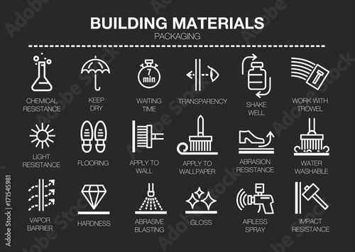 Vector set of thin line icons of building materials characteristics on black background Wallpaper Mural