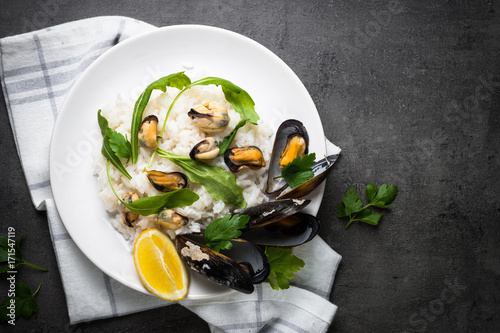 Rice with seafood.
