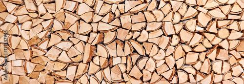 Foto op Aluminium Brandhout textuur Wooden background of shattered tree trunks