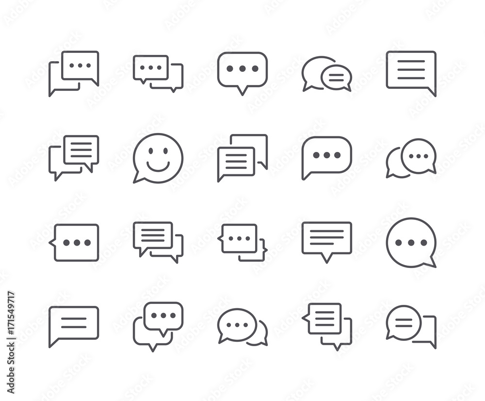 Fototapety, obrazy: Minimal Set of Chat Bubble Line Icons