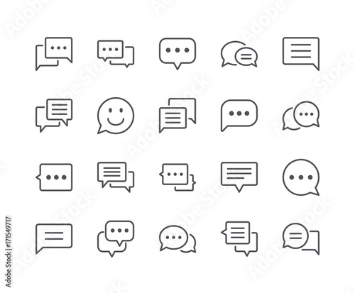 Valokuva  Minimal Set of Chat Bubble Line Icons