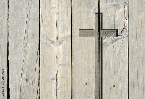 Brown Old Christian Religion Symbol Cross Shape As Sign Of Belief On