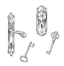 Door Handles And Keys, Retro Style