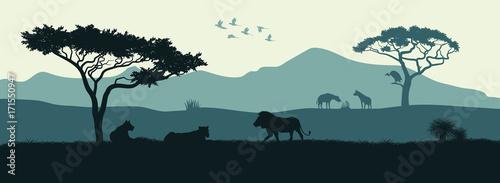 Black silhouette of animals of the African savannah Wallpaper Mural