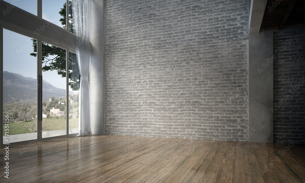 Fototapeta The interior design of empty room and living room and brick wall texture / 3D rendering new scene new model
