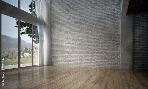 Fototapeta The interior design of empty room and living room and brick wall texture / 3D rendering new scene new model  obraz