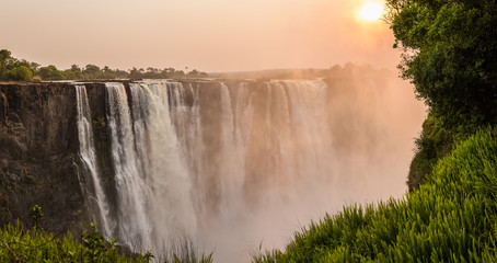 Panel Szklany Wodospad Sunrise at Victoria Falls, Main Falls, Dry Season