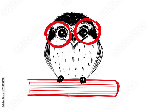 Cute hand drawn owl with red glass sitting on book - Vector Illustration