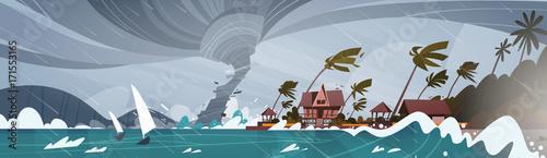 Fotomural Tornado Incoming From Sea Hurricane In Ocean Huge Waves On Houses On Coast Tropi