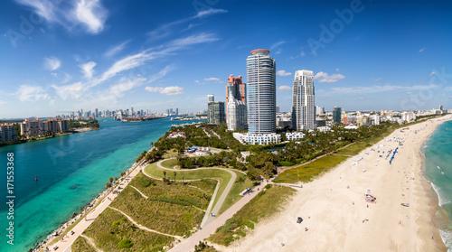 Fototapeta Południe Plażowy Miami widok z lotu ptaka, Floryda usa