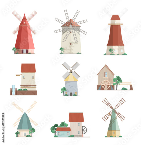 Valokuvatapetti Set of colorful windmills and watermills of different types - smock, tower, post mills isolated on white background