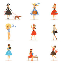 Retro Girls Characters Set, Be...