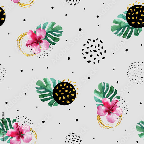 Poster Graphic Prints Watercolor exotic flowers and abstract texture circles background.