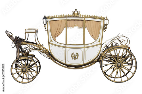 Leinwand Poster vintage carriage isolated on white background
