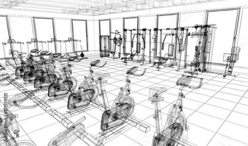Fotografie, Obraz  Centro Fitness, Palestra, Sport, illustrazione 3d